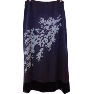Dana Buchman Midnight Blue Silk/Velvet Maxi Skirt